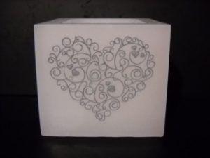 Vela hueca cuadrada corazón